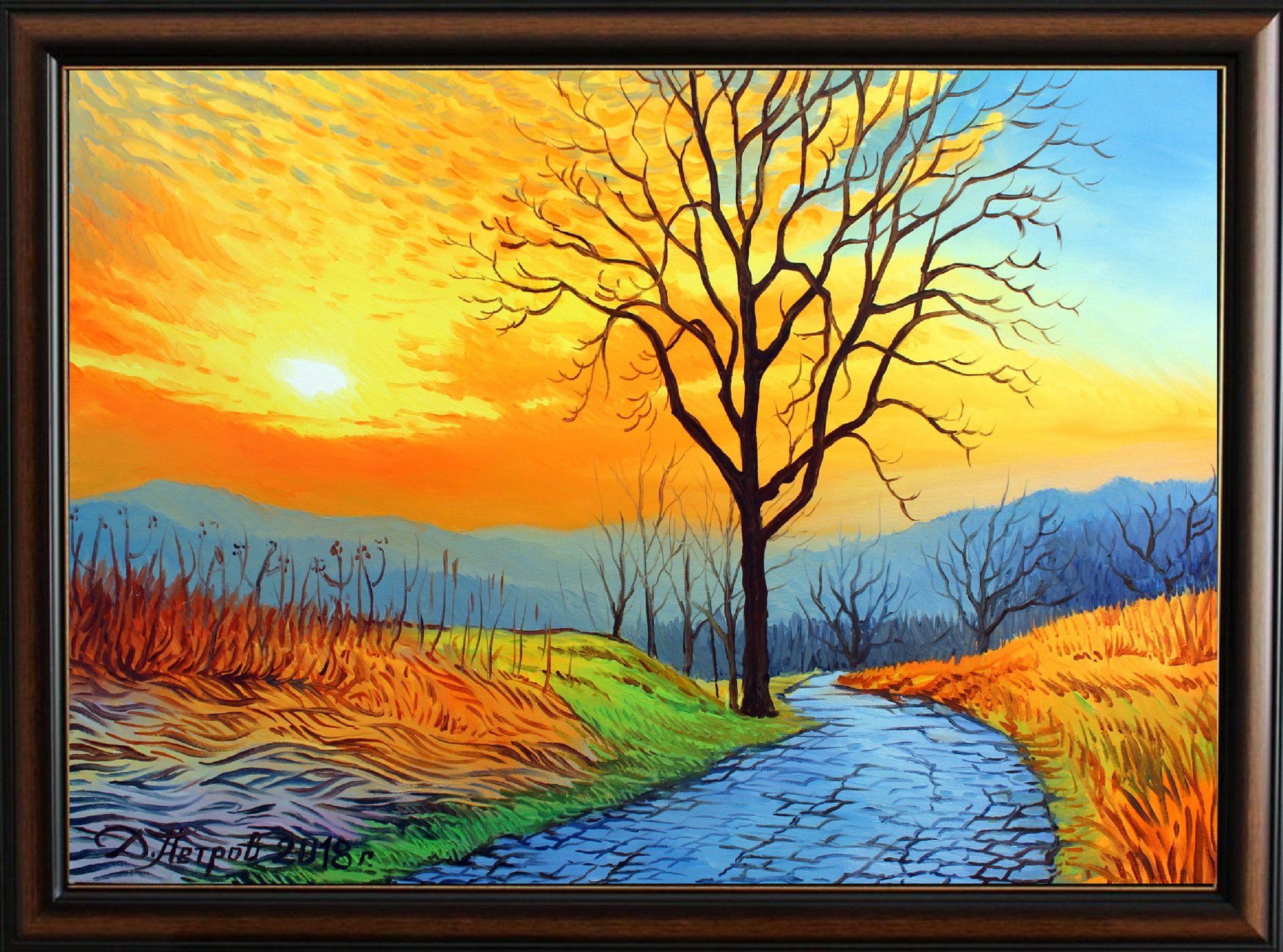 -пътят-към-неизвестното-оригинална-картина-с-маслени-бои-на-платно-50-х-70-см.-цена-430-лева Картини в наличност