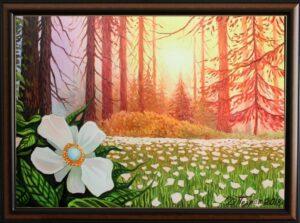 """""""Вълшебното цвете от гората на еднорозите"""" - оригинална картина с маслени бои на платно 50х70 см. - цена 390 лева"""